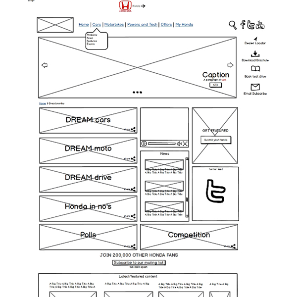 Honda Dream Blog v2 wireframes (new site coming soon)