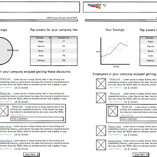 Personal Group - Wireframing for discount platform used by Network Rail & DHL